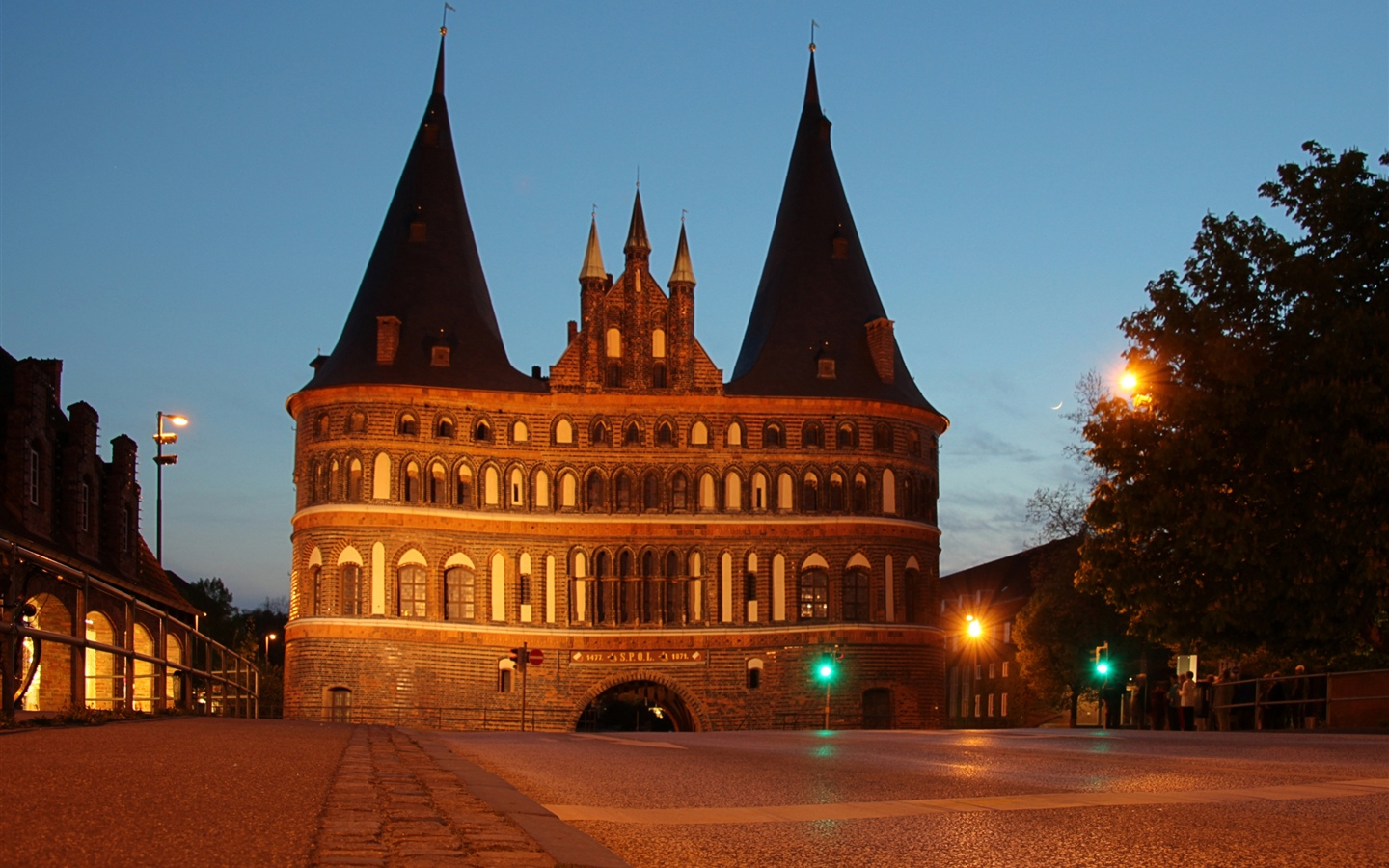 Germany, Holstentor, Lubeck, castle, night, lights 1440x900 wallpaper