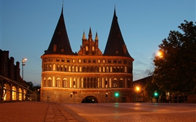 Germany, Holstentor, Lubeck, castle, night, lights HD wallpaper