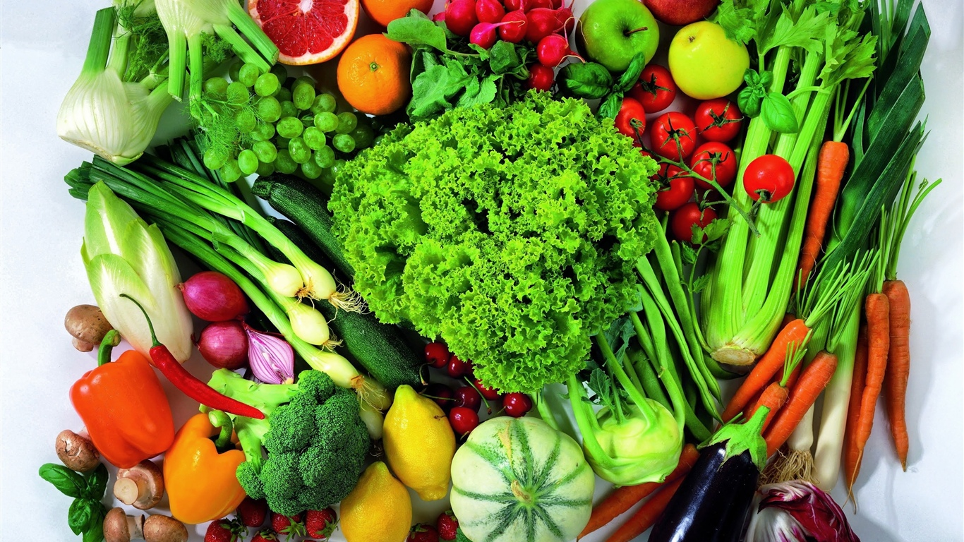 Many kinds of vegetables and fruits 1366x768 wallpaper