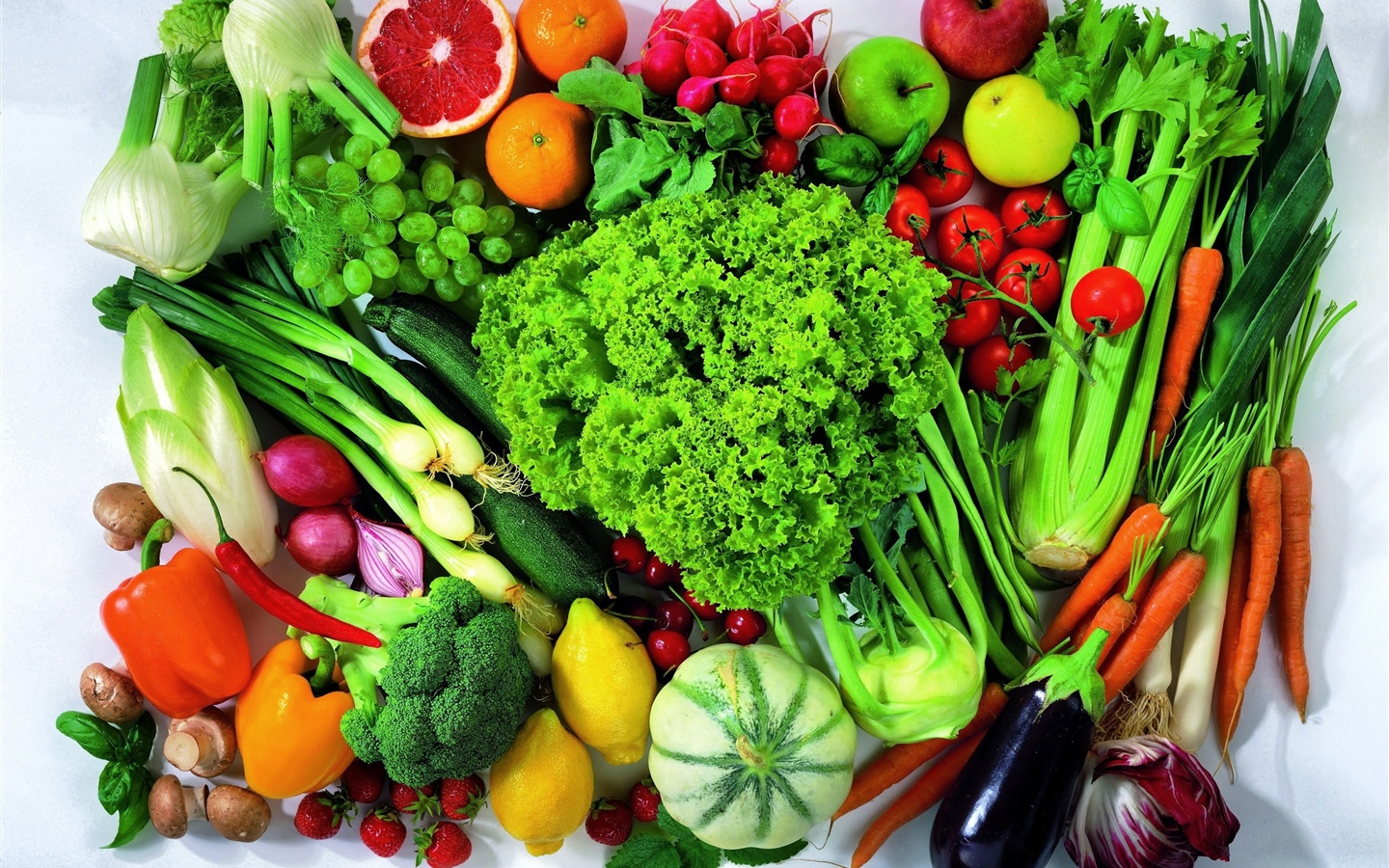 Many kinds of vegetables and fruits 1440x900 wallpaper