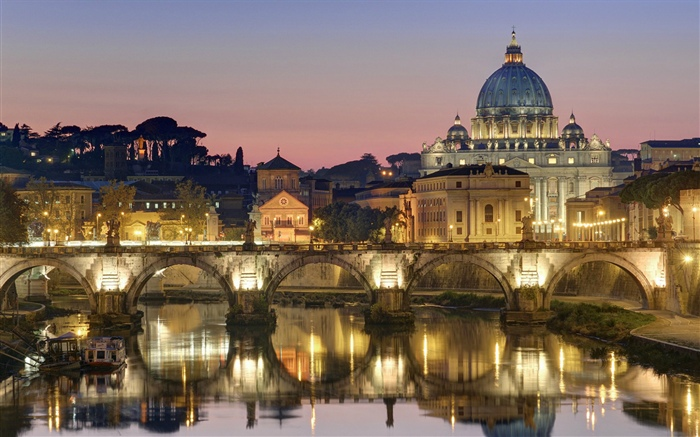 Roman, Gothic, Old Town, city, lights, bridge, river Wallpapers Pictures Photos Images
