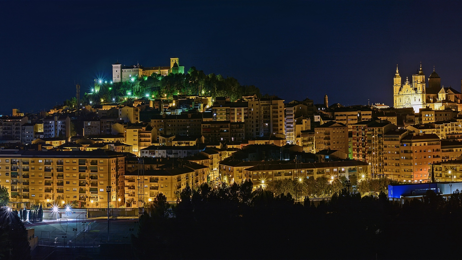 Spain, Aragon, lights, night, city, buildings 1920x1080 wallpaper