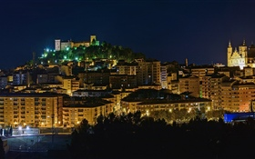 Spain, Aragon, lights, night, city, buildings
