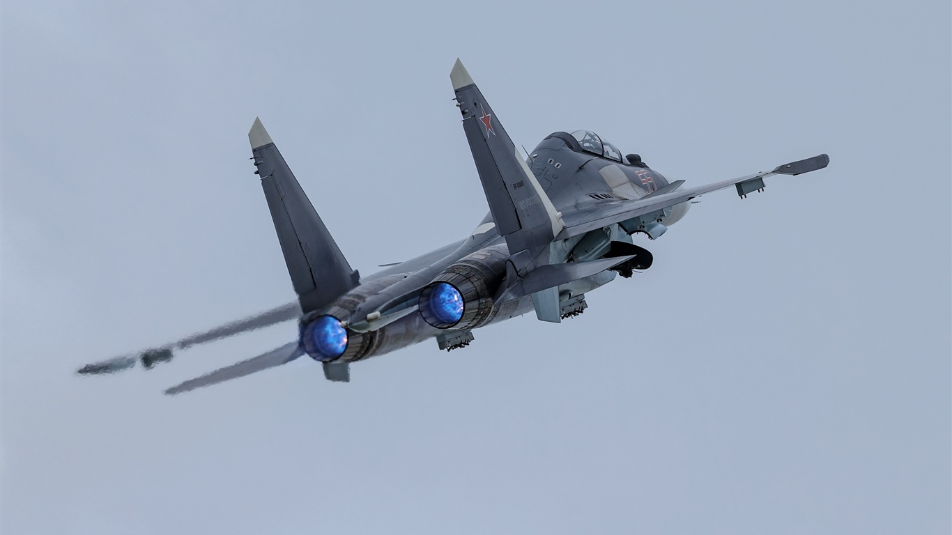 Su-30SM airplane, sky 1366x768 wallpaper