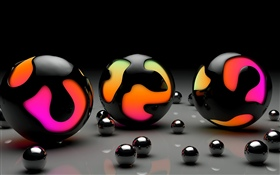 3D balls, colors HD wallpaper