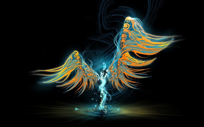 Abstract angel, wings, black background Wallpapers Pictures Photos Images