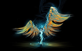 Abstract angel, wings, black background