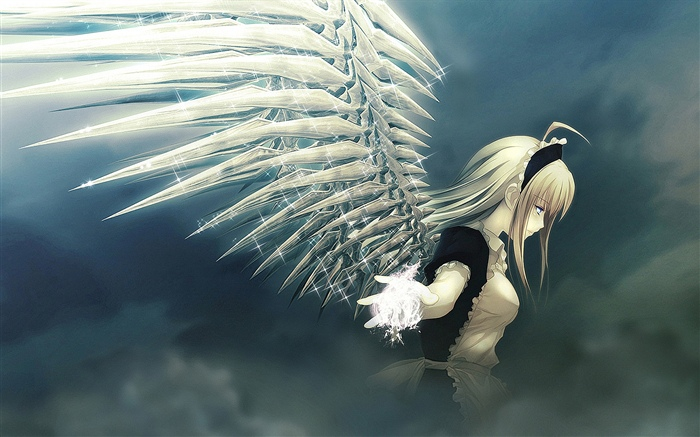 Anime girl, angel, wings, shine Wallpapers Pictures Photos Images