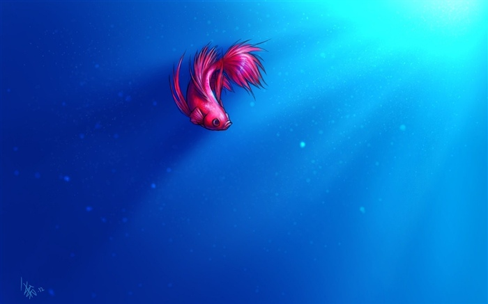 Art painting, pink fish, blue sea Wallpapers Pictures Photos Images