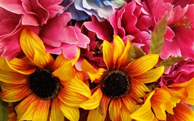 Artificial flowers, sunflowers HD wallpaper