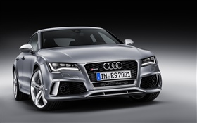 Audi RS7 silver car front view HD wallpaper
