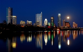 Austin, USA, city night, skyscrapers, lights, river, moon HD wallpaper