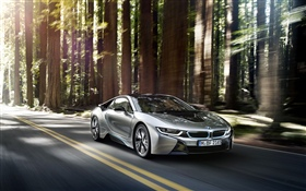 BMW i8 silver car speed HD wallpaper