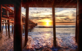 Beach, sea, pier, sunset, California, USA