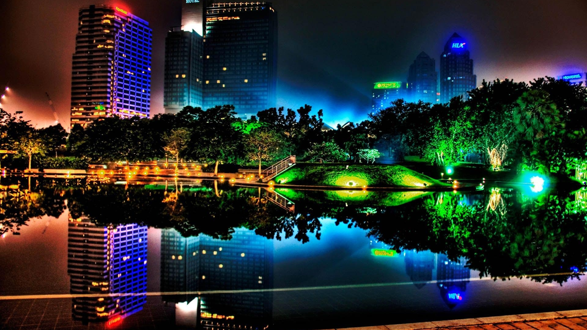 Beautiful night city, buildings, pond, lights, trees, park 1920x1080 wallpaper