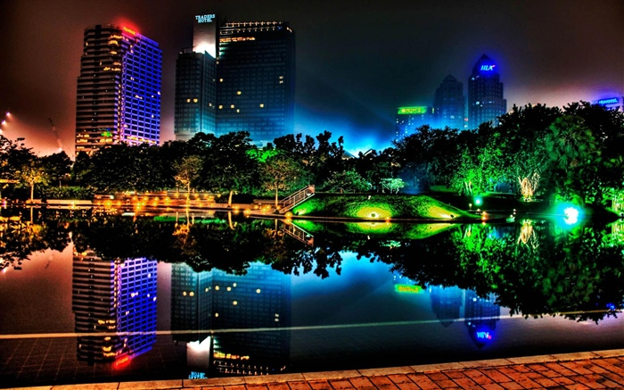 Beautiful night city, buildings, pond, lights, trees, park Wallpapers Pictures Photos Images