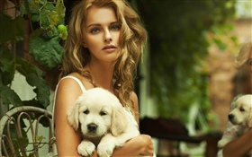 Blonde girl and dog HD wallpaper