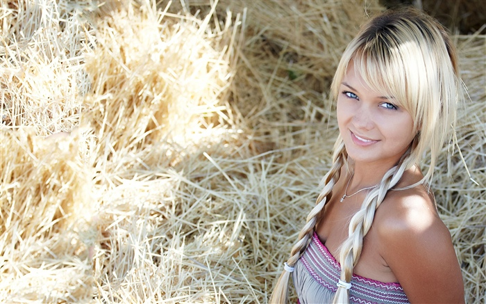 Blonde girl, smile, hay Wallpapers Pictures Photos Images