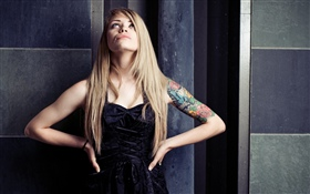 Blonde girl, tattoo HD wallpaper