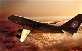 Boeing 747 airplane, clouds, sun HD wallpaper