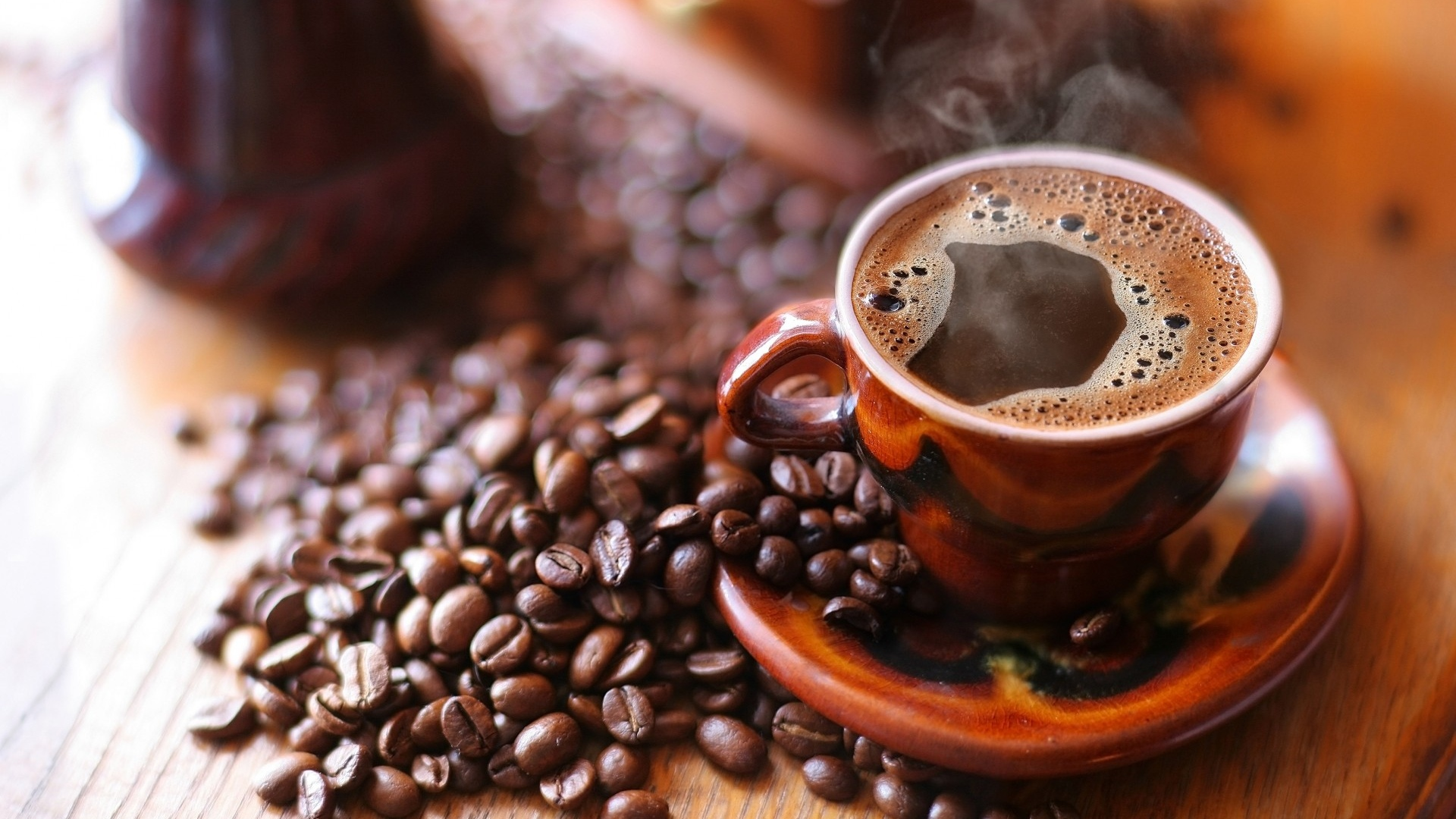 Coffee beans, cup, foam, steam 1920x1080 wallpaper