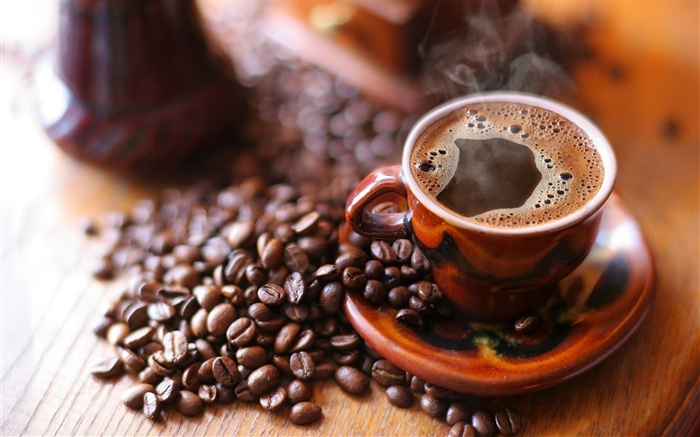 Coffee beans, cup, foam, steam Wallpapers Pictures Photos Images