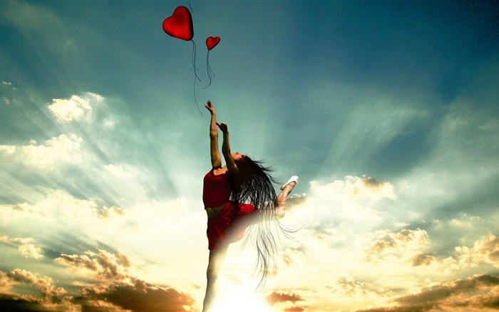 Dancing girl, red skirt, love heart, clouds, sun rays Wallpapers Pictures Photos Images