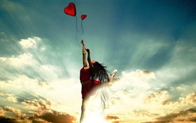 Dancing girl, red skirt, love heart, clouds, sun rays