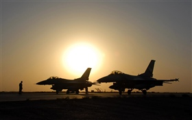 F-16 fighters, sunset HD wallpaper