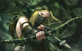Fantasy girl, archer, bow HD wallpaper