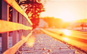 Fence, sunset, glare HD wallpaper
