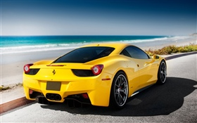 Ferrari yellow car, sea, beach HD wallpaper