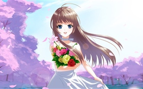 Happy anime girl, flowers, wind HD wallpaper