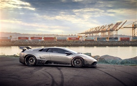Lamborghini silver supercar side view HD wallpaper