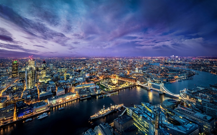 London, city night, river, bridge, lights, England Wallpapers Pictures Photos Images