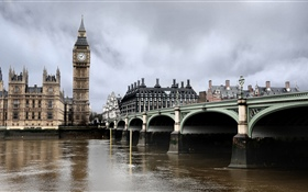 London, river, bridge, Big Ben, England HD wallpaper