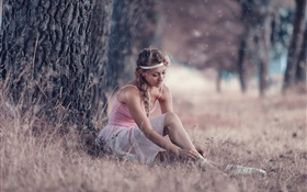 Lovely young girl, ballerina, grass, tree HD wallpaper