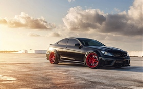 Mercedes-Benz C63 black car HD wallpaper