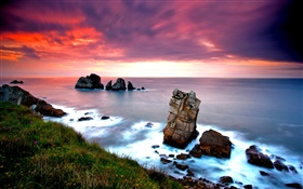 Nature landscape, sea, rocks, sunset HD wallpaper