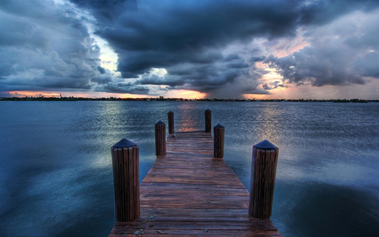 Pier, sea, clouds, dusk 1280x800 wallpaper