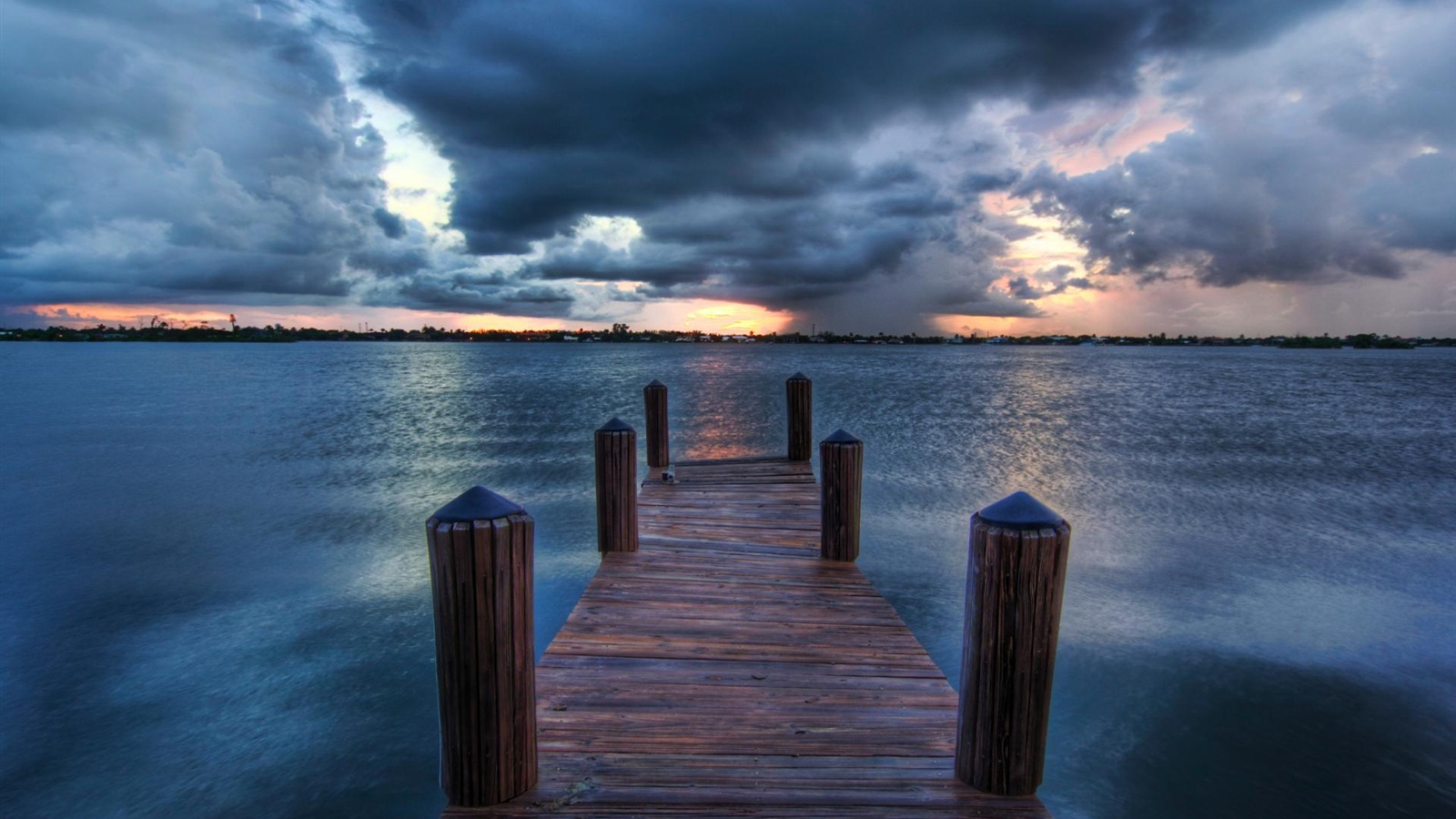 Pier, sea, clouds, dusk 1600x900 wallpaper