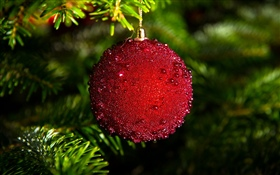 Red Christmas ball HD wallpaper