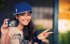 Smile girl, blue hat HD wallpaper