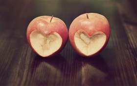 Two apples, love heart HD wallpaper