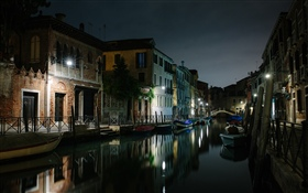Venice, Italy, river, houses, bridge, night HD wallpaper