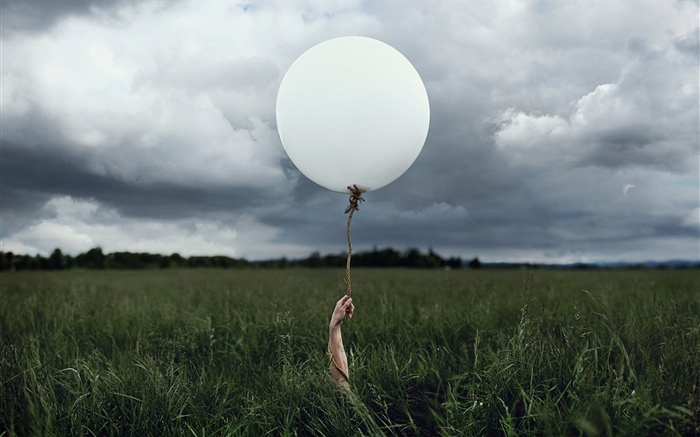 White balloon, grass Wallpapers Pictures Photos Images