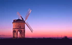 Windmill, sunset HD wallpaper